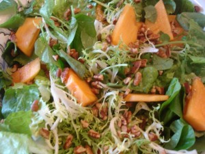 Greens with Persimmon and Pecans