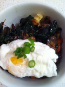 Red Quinoa with Swiss Chard and Poached Egg